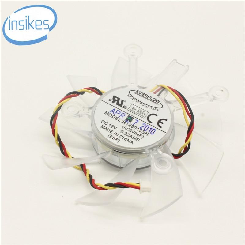 Original R128015SH 75mm grafik / grafikkort ventilator udskiftning 4 x 43mm 12V 0.32A 3Wire 3Pin til ASUS 9800GT 9800GTX