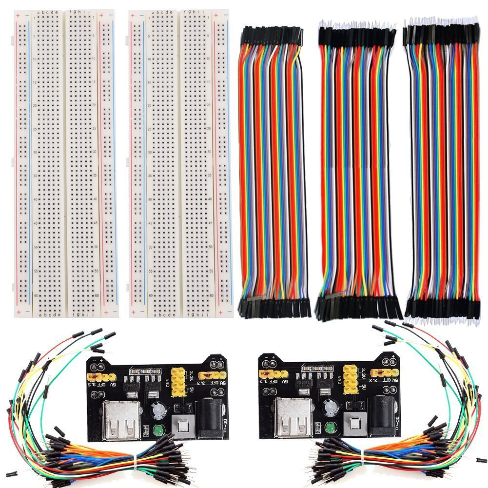 2pcs 830 Points Solderless Breadboard + 2 Power Supply Module 3.3V/5V + 2pack 65pcs jumper wires +120pcs 20cm Jumper Wires2pcs 830 Points Solderless Breadboard + 2 Power Supply Module 3.3V/5V + 2pack 65pcs jumper wires +120pcs 20cm Jumper Wires