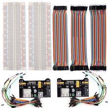 2pcs 830 Points Solderless Breadboard + 2 Power Supply Module 3.3V/5V + 2pack 65pcs jumper wires +120pcs 20cm Jumper Wires