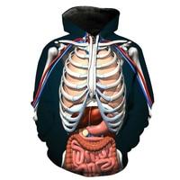 Spring Autumn Adult Unisex Halloween Costume For Women Skull Bone Organs 3D Printed Sweatshirt Hoodie Terror Costume Coat S 3XL