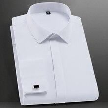 Мужская классическая Однотонная рубашка с французскими манжетами, формальная деловая Стандартная рубашка с длинными рукавами(запонки в комплекте