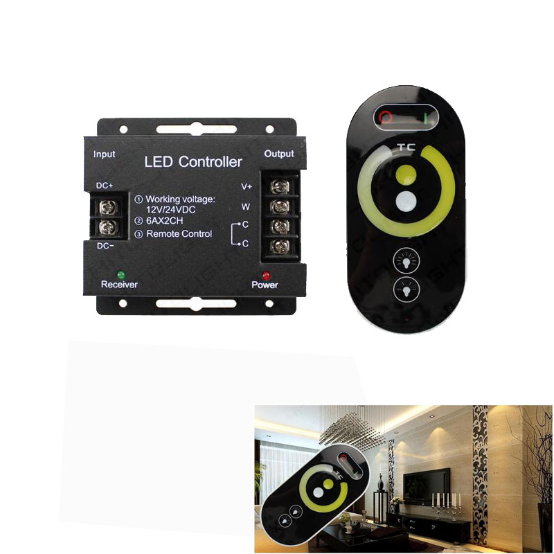No Battery RF <font><b>Remote</b></font> Control <font><b>led</b></font> <font><b>dimmer</b></font> touch switch cct <font><b>strip</b></font> <font><b>led</b></font> light <font><b>dimmer</b></font> brightness dc 12/24v For <font><b>LED</b></font> <font><b>Strip</b></font> Light image
