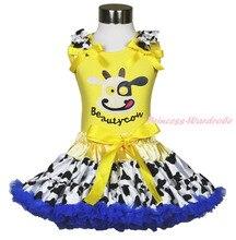 Красота коровьего молока пастушка молочного скота юбка желтый рубашки верхней девушка ткань комплект 1-8Y MAPSA0633