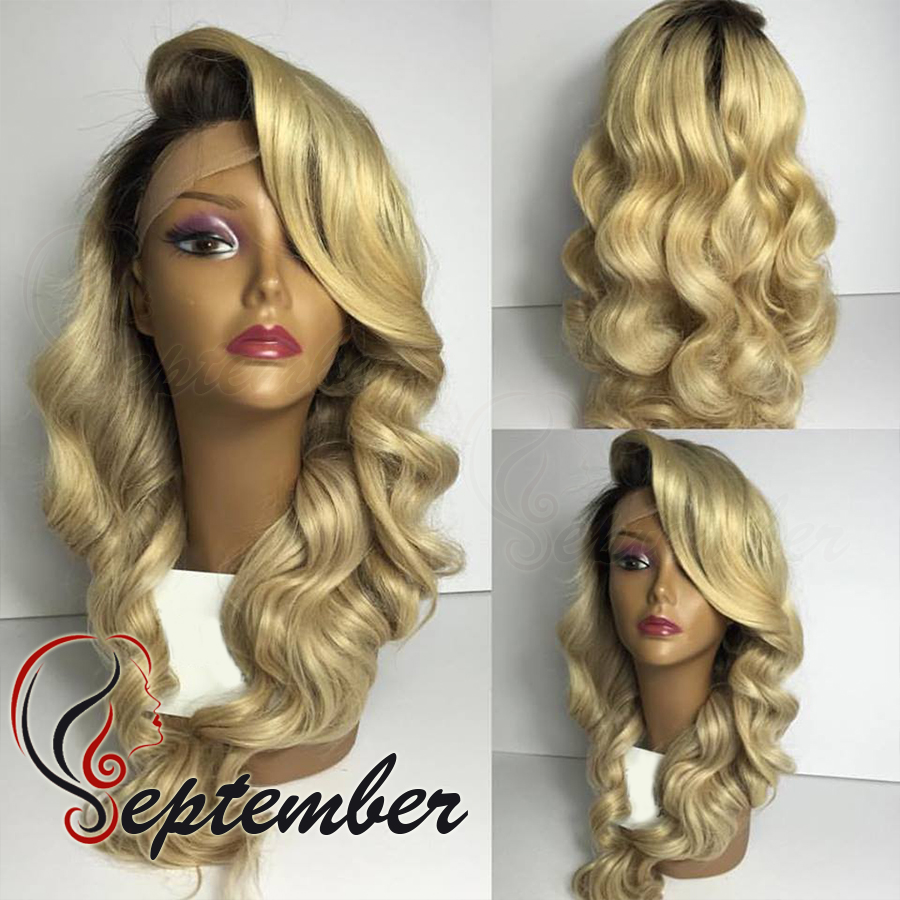 #613 blonde ombre synthetic lace front wig body wave glueless synthetic lace front wig heat resistant fiber hair free shipping