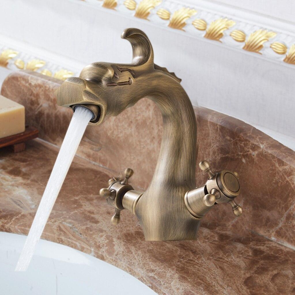 Antique laiton salle de bain robinet double poignée chinois Dragon lavabo lavabo mitigeur robinets pont monté un trou cascade bassin