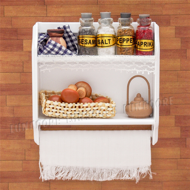 Odoria 1:12 miniatura cocina de madera blanco montado en la pared ...