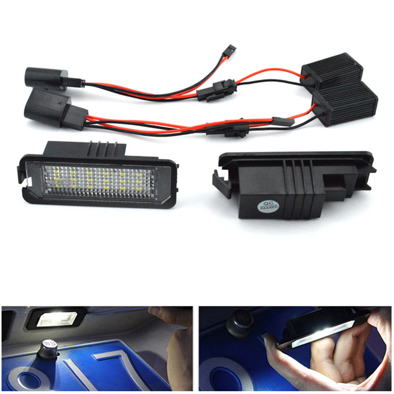 2pcs  LED Rear Back Car License Plate Light Lamp for VW Golf4 Golf6 Polo Passat Car Super White Bright 12V Car Styling 2pcs car styling auto no error under mirror led puddle light lamp for volkswagen vw golf mk6 gti touran 2011 white accessories