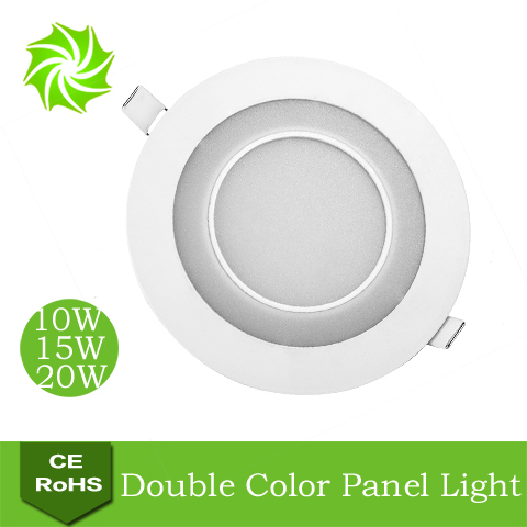 Round White+Blue 10W 15W 20W LED Double Color Panel Light Restaurant / Bathroom Integrated Ultra Bright Ceiling Lamp Lights - ShenZhen YOUYILI Lighting Co., Ltd. store