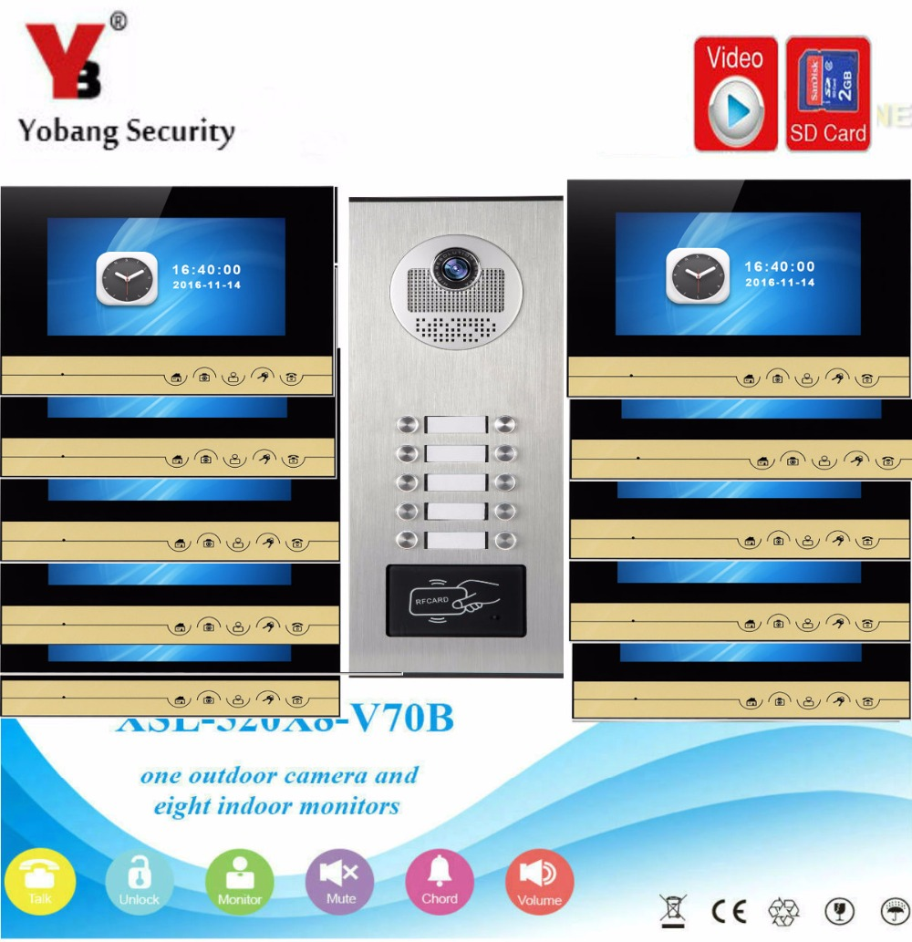 YobangSecurity Video Intercom 7 Inch Monitor Video Door Phone Doorbell Camera RFID Access With Video Recording For 10 Apartment