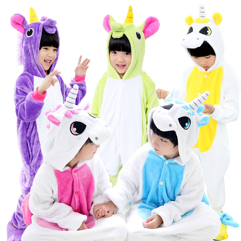 Winter Child Unicorn Pajamas Baby Onesie Kids Pajama Set Animal Cartoon Sleepwear Stitch Unicorn Hooded Anime Cosplay Costumes