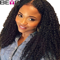 Beyo Brazilian Afro Kinky Curly Wig Lace Front Human Hair Wigs For Women Pre Plucked With Baby Hair Remy Hair 130 Density