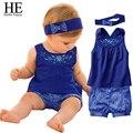 Meninas do bebê vestido de crianças vestido de roupa do bebê terno Azul/escalar lenço + vestido sem mangas + grade verificado calças vestuário nova 2016