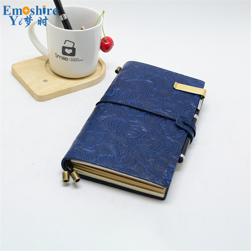 New Creative Retro Leather Strap Notebook Travel Notepad Loose-leaf Diary Book Customized Logo for Business Meeting Gifts N086 a6 spiral notebook diary notepad dokibook business leather loose leaf notepad school office supply customized logo