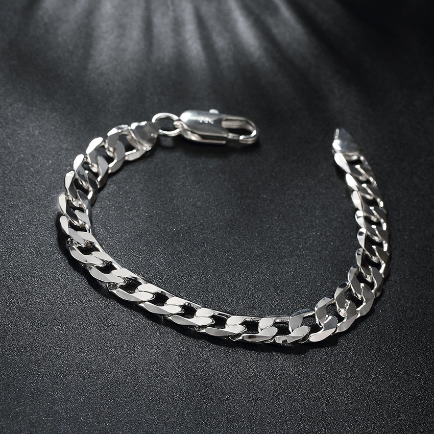 20CM Punk Style Silver plated Bracelets Chain Hip hop DIY Metal Charms European Charm Cool Bracelet For men jewelry gift for him