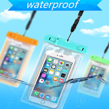 Night luminous PVC Underwater Waterproof Mobile Phone Bags For iPhone 6 7 for Samsung S7 S8 J5 for Huawei Pouch with Neck Strap