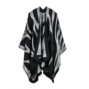 Image 4 - 2019 nuevas bufandas de Invierno para mujer, Ponchos y capas de Cachemira, moda femenina, Pashmina, chal tejido, capa de manto, estolas