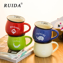 RUIDA Travel Outdoor Home Vintage Style Handmade Enamel Cup Mug for Drinking Coffee Milk Tea breakfast Camping Hiking Gift