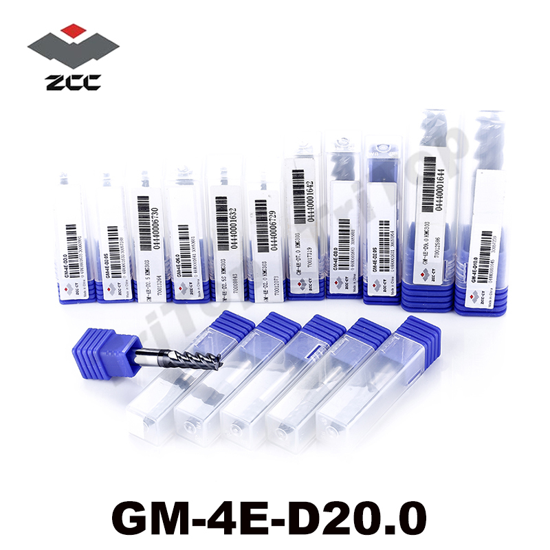 cnc tools GM-4E-D20.0 high speed milling cutter side milling and slot milling d 20mm 4 flute fresas para madera end mill zcc ct high precision machining zcc ct al 3e d20 0 solid carbide 3 flute flattened cnc end mill 20mm straight shank milling cutter