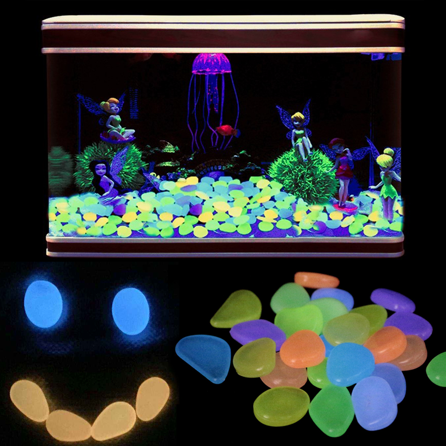 50pcs 100pcsAquarium Ornaments Stones Glow In The Dark Luminous Pebbles Stones For Garden Ornament Fish Tank Decorative