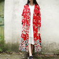 JN053 Spring 2016 women loose plus size vintage Chinese Style clouds and dragons print cotton and linen long maxi trench coat