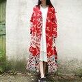 Jn053 весной 2016 женщины свободный Большой размер оптово-урожай китайском стиле облака и драконы печать хлопок и белье с макси плащ