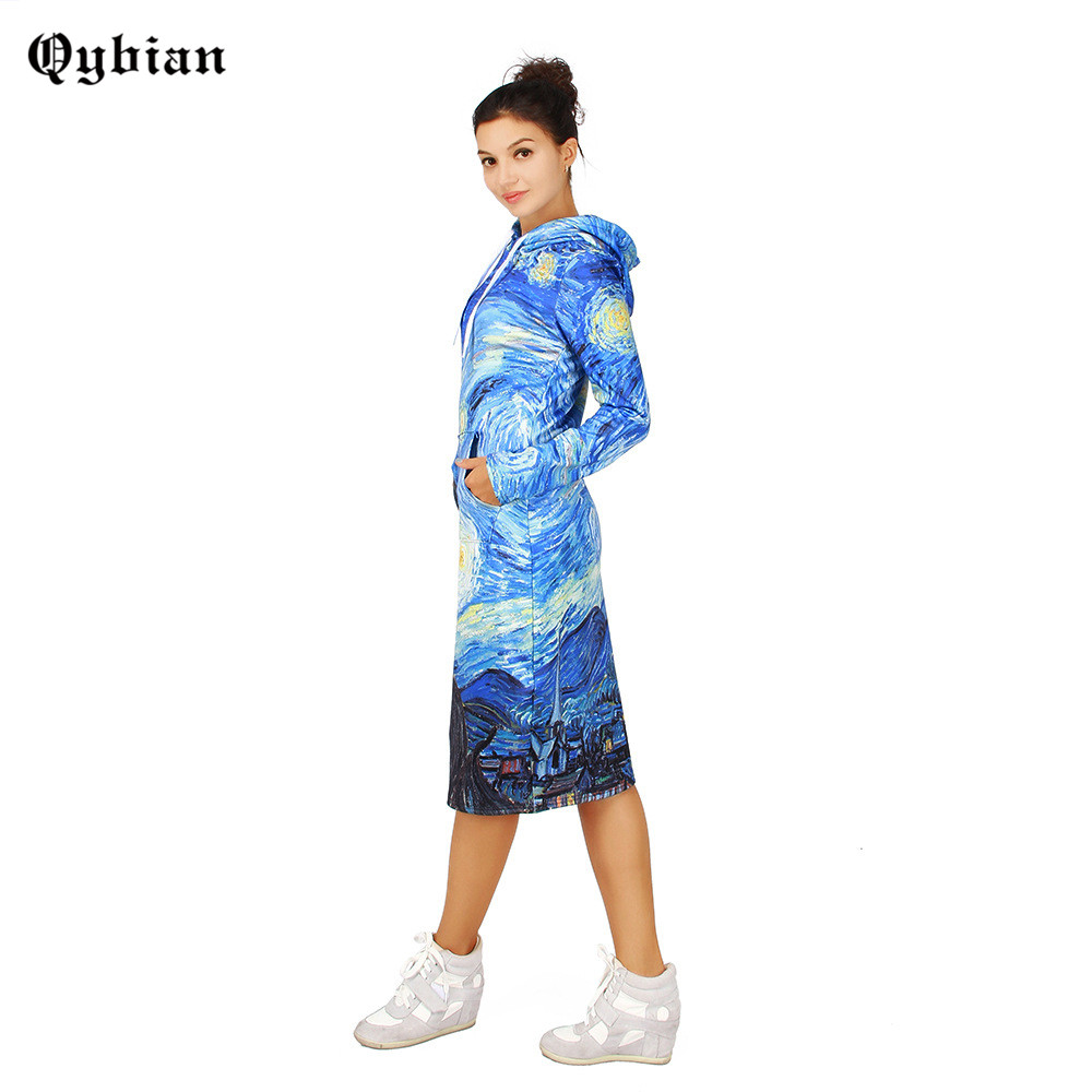 Qybian 2017 long sleeve casual 3d Tornado printed sweatshirt Dress women hoodies pullover sexy Knee Length Shift Dress