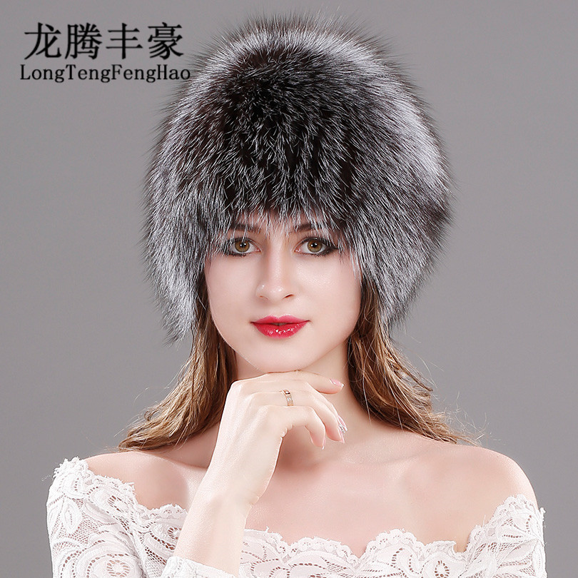 Natural Fox Fur Hats for Women Real Beanies Cap Knitted Russian Winter Thick Warm Fashion Caps Silver lady