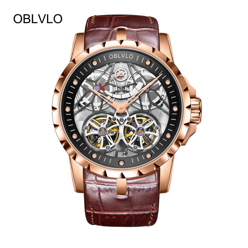 Новинка 2018 года дизайнер OBLVLO роскошные часы с костями для мужчин Военная Униформа часы Tourbillon мощность резерв OBL3609