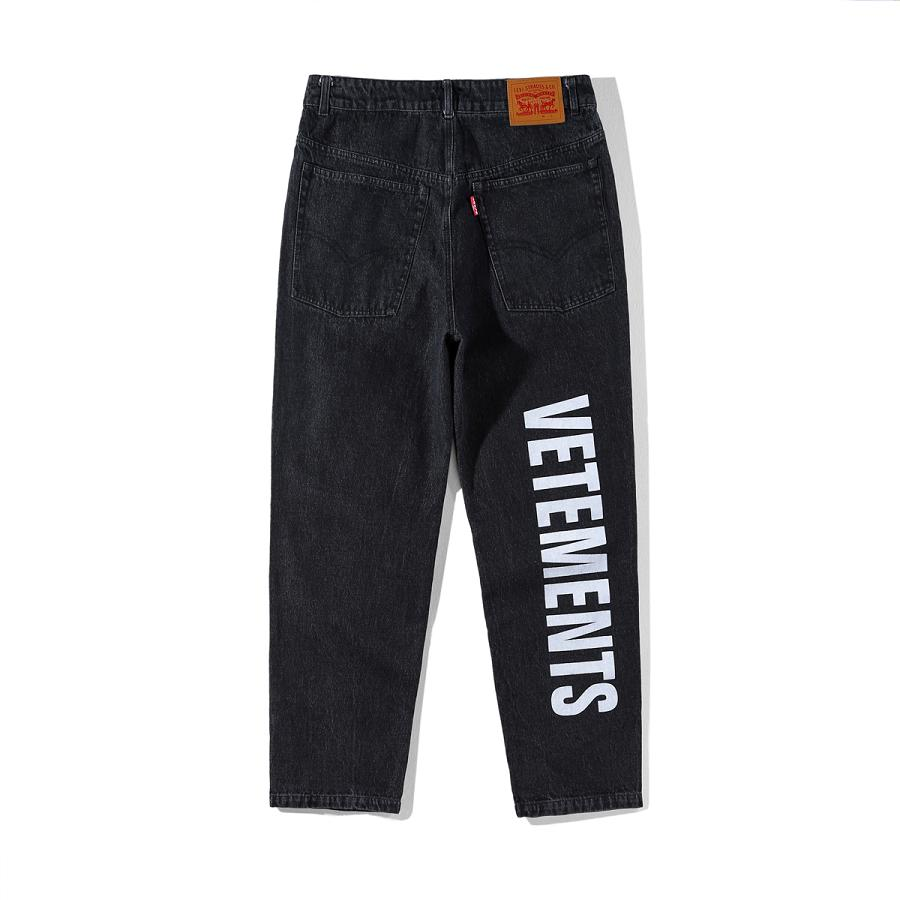 Vetements Washed Vintage   Jeans   English Letters Printed Pants High Quality Retro Split Joggers Men Distressed ambush Trousers