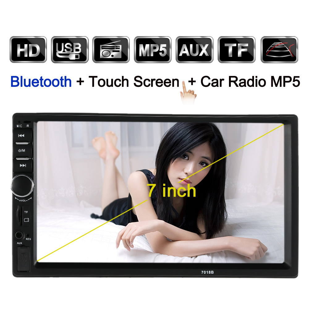 Universal 2 Din Car Stereo Radio Player 7 Inch HD Touch Screen Support FM MP5 USB AUX withRear View Camera Interface