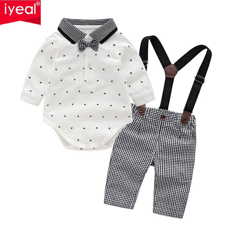 IYEAL Newborn Baby Boy Outfits Set 2pcs Long Sleeves Bow Ties Shirts Plaid Suspenders Pants Toddler