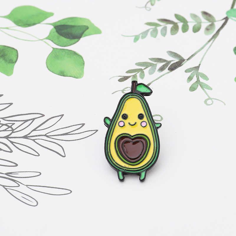 Cute Cartoon di Avocado Spilli faccia Gialla del cuore di Amore core Risvolto dello smalto Spille per le donne di Frutta pianta Regalo Del Partito Dei Monili Spilli distintivi e Simboli