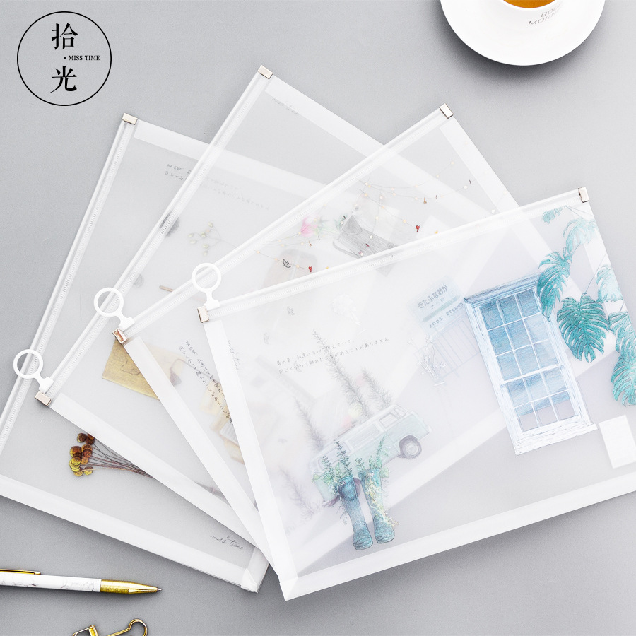 Coloffice Transparent Creative Fill Folder Pouch For A4 Document Kawaii Stationary Document Bag Business School File Folder 1PC