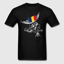 Humor Men T Shirt Top Tee Astronaut Moon Romania Explores Space Flag Tshirt Costume Fit Camisetas Hombre Male Crew Neck