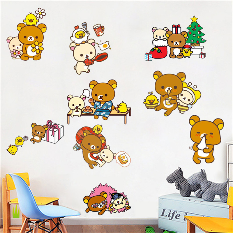 rilakkuma relaxed bear cartoon wall stickers bedroom kids room