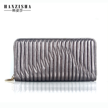 HANZISHA Genuine Leather Women Wallet High Quality Sheepskin Standard Wallet Long Clutch Fashion Multiple Holder Wallet Bag
