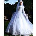 Gorgeous Long Sleeve Muslim Hijab Wedding Dress 2017 Corset White Applique Lace Islamic Wedding Dresses robe de marriage