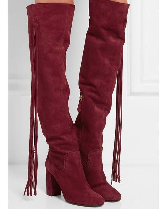 Long Fringe Side Women Knee High Boots Round Toe Cowboy Style Ladies Chunky Heel Boots Zipper Boots Female Fashion Dress BootsLong Fringe Side Women Knee High Boots Round Toe Cowboy Style Ladies Chunky Heel Boots Zipper Boots Female Fashion Dress Boots