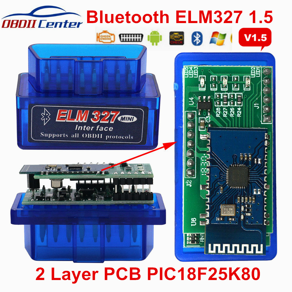 Newly Elm327 Pic18f25k80 Bluetooth V1.5 Auto Scanner 2 Layer Pcb Elm 327 25k80 Obdii Diagnostic Scanner Hardware 1.5 Andorid Pc