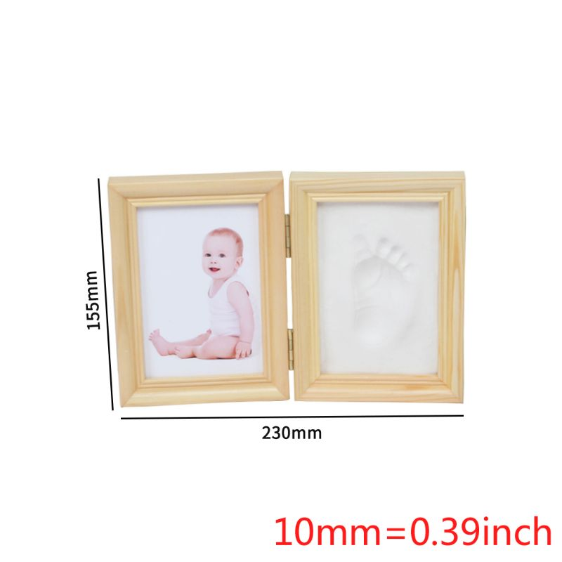 Купить с кэшбэком Folding DIY Baby Hand Foot Print Pictures Display Wood Photo Frame Souvenirs Commemorate Kids Growing Memory Baby Shower Gift