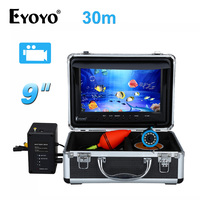 EYOYO 8GB 30m Cable Ice Fishing Camera 9 LCD 1000TVL Fish Finder Underwater Camera DVR Recorder White LED for Ocean Sea Fishing