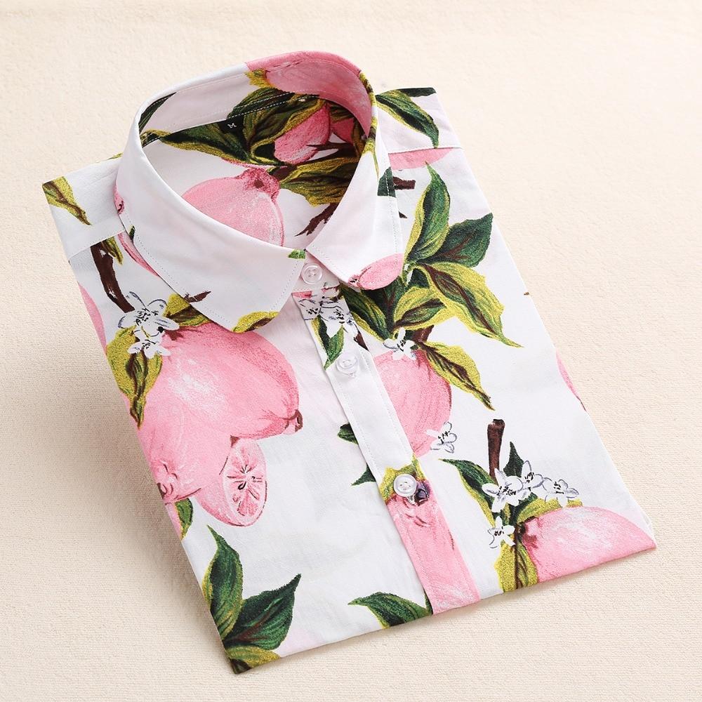 Dioufond Women Cotton Shirts Fashion Vintage Blouses 5XL Plus Size Shirt Print Blusas Floral Women Blouse Long Sleeve Female Top