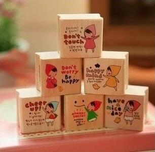 Cute Girl Stamp Set Wood Stamps DIY Stationery Zakka Office Material School Supples(ss-1514)