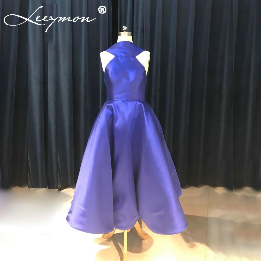 Real Pleated Satin Bridesmaid Dress Long Sleeveless High Neck Sexy Open  Back 2018 Royal Blue Dress e10692747de0