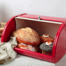 صندوق الخبز الأحمر ل طاولة مطبخ صندوق تخزين الخبز تخزين الحاويات ل أرغفة ، المعجنات ، وأكثر من ذلك ، نشمر تصميم غطاء