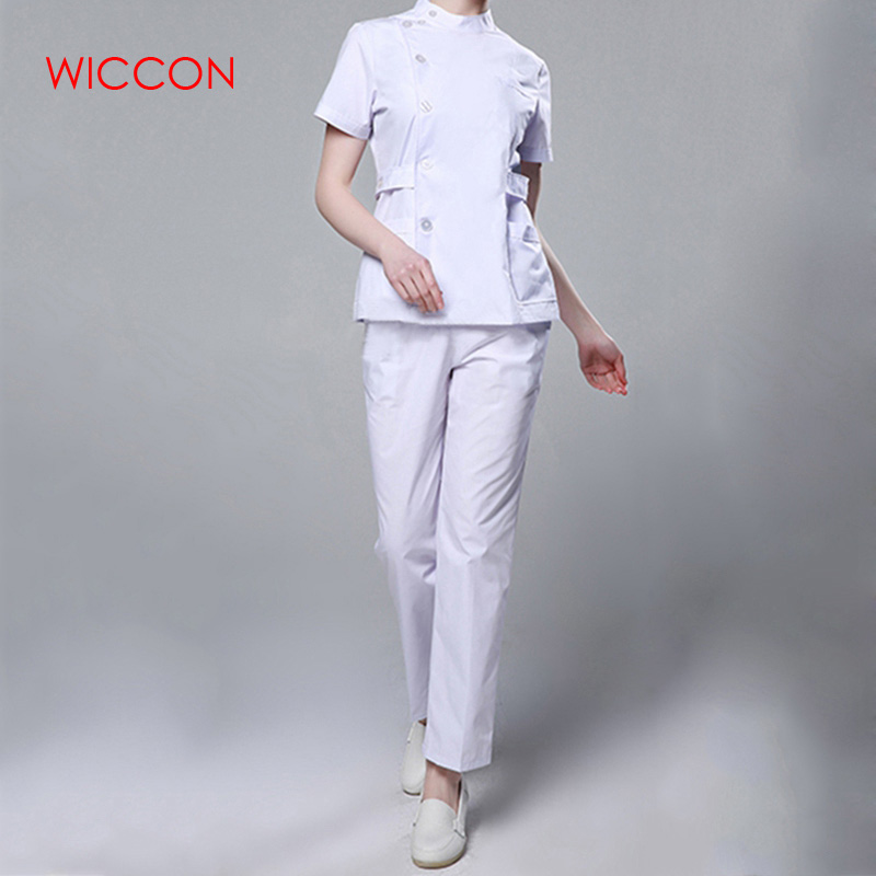 Womens Nurse Medical Clothing Hospital Surgical Suits Scrubs Nursing Uniforms Beauty Salon Female Short Sleeve Coat+Pants image