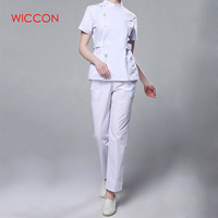 Womens Nurse Medical Clothing Hospital Surgical Suits Scrubs Nursing Uniforms Beauty Salon Female Short Sleeve Coat+Pants