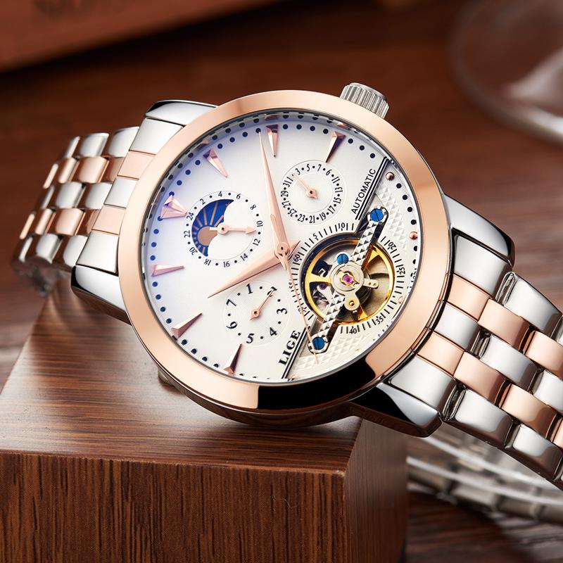 Prix pour 2016 Hommes Montres De Luxe Top Marque LIGE Sport Montre Mécanique Or Horloge Hommes Tourbillon Automatique Montre-Bracelet Avec Phase de Lune