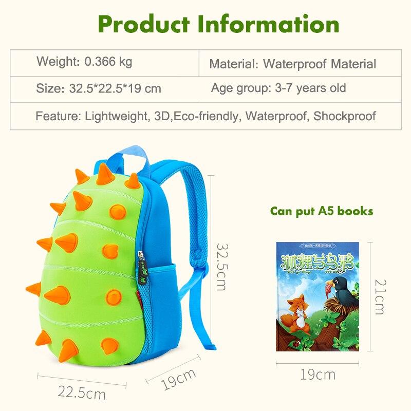 NOHOO enfants sacs d'école enfants bébé 3D dinosaure sac à dos bambin sacs à dos pour garçons filles dinosaure sac de jouets de bande dessinée sac - 6