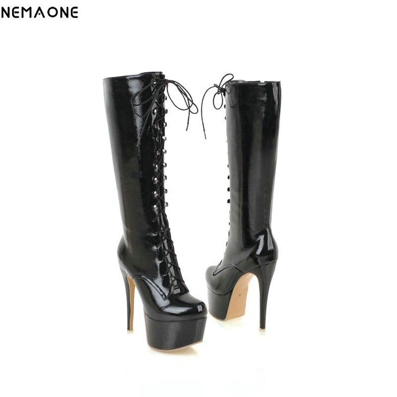 NEMAONE 14 cm super hauts talons genou bottes femme bout rond plate-forme noir blanc rouge à lacets dames bottes chaussures de fête femme